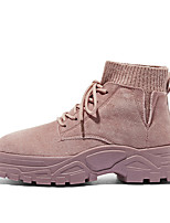 cheap -Women's Boots Flat Heel Round Toe Mid Calf Boots Daily Work Suede Lace-up Solid Colored Pink Khaki Beige