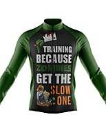 cheap -21Grams Men's Long Sleeve Cycling Jersey Spandex Polyester Black / Green Funny Bike Top Mountain Bike MTB Road Bike Cycling Quick Dry Moisture Wicking Breathable Sports Clothing Apparel / Stretchy