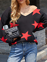 cheap -Women's Pullover Sweater Modern Style Stars Active Casual Long Sleeve Sweater Cardigans V Neck Fall Winter Grey Orange White