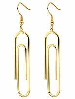 cheap -paper clip earrings for women girls fashion gold plated stainless steel geometric elegant pin hypoallergenic hoop earrings jewelry (gold)