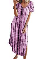 cheap -Women's Loose Midi Dress fluorescent green Blue Purple Grey khaki Short Sleeve Print Modern Style Summer Round Neck Casual 2021 S M L XL XXL XXXL 4XL 5XL