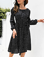 cheap -Women's A Line Dress Midi Dress Black Brown Dark Blue Long Sleeve Dot Modern Style Fall Round Neck Casual 2021 S M L XL