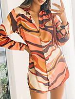 cheap -Women's Shirt Dress Short Mini Dress Blue Orange Long Sleeve Color Block Button Print Fall Shirt Collar Casual 2021 S M L