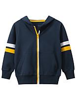 cheap -Kids Boys' Coat Long Sleeve Blue Gray Striped Pocket Cotton Street Vacation Active Basic 2-8 Years / Fall / Winter