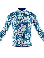 cheap -21Grams Men's Long Sleeve Cycling Jersey Spandex Polyester Blue+White Floral Botanical Funny Bike Top Mountain Bike MTB Road Bike Cycling Quick Dry Moisture Wicking Breathable Sports Clothing Apparel