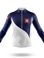 cheap -21Grams Men's Long Sleeve Cycling Jersey Spandex Polyester Blue+White Switzerland Funny Bike Top Mountain Bike MTB Road Bike Cycling Quick Dry Moisture Wicking Breathable Sports Clothing Apparel