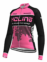 cheap -21Grams Women's Long Sleeve Cycling Jersey Spandex Polyester Rose Red Color Block Funny Bike Top Mountain Bike MTB Road Bike Cycling Quick Dry Moisture Wicking Breathable Sports Clothing Apparel