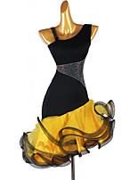 cheap -Latin Dance Dress Crystals / Rhinestones Women's Training Sleeveless High Spandex Organza