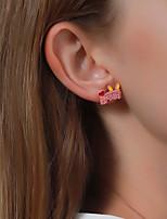 cheap -Women's Earrings Monogram Rabbit Carrot Clover Stylish Cartoon Earrings Jewelry Yellow / Blushing Pink / Red For Street 1 Pair