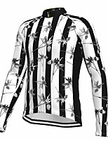 cheap -21Grams Men's Long Sleeve Cycling Jersey Spandex Polyester Black Stripes Floral Botanical Funny Bike Top Mountain Bike MTB Road Bike Cycling Quick Dry Moisture Wicking Breathable Sports Clothing