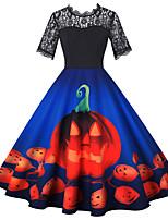 cheap -Pumpkin Audrey Hepburn Dress Swing Dress Adults' Women's Vintage Festival Halloween New Year Festival / Holiday Lace Terylene Purple / Blue / Black Women's Easy Carnival Costumes Pumpkin