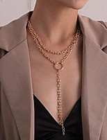 cheap -dainty unique punk y choker o ring pendant boho jewelry set statement chunky necklace for women men (gold)