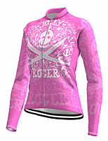 cheap -21Grams Women's Long Sleeve Cycling Jersey Spandex Polyester Pink Skull Funny Bike Top Mountain Bike MTB Road Bike Cycling Quick Dry Moisture Wicking Breathable Sports Clothing Apparel / Stretchy