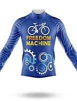 cheap -21Grams Men's Long Sleeve Cycling Jersey Spandex Polyester Blue Gear Funny Bike Top Mountain Bike MTB Road Bike Cycling Quick Dry Moisture Wicking Breathable Sports Clothing Apparel / Stretchy