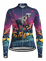cheap -21Grams Women's Long Sleeve Cycling Jersey Spandex Polyester Purple 3D Funny Bike Top Mountain Bike MTB Road Bike Cycling Quick Dry Moisture Wicking Breathable Sports Clothing Apparel / Stretchy