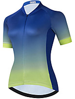 cheap -21Grams Women's Short Sleeve Cycling Jersey Summer Spandex Blue+Green Gradient Bike Top Mountain Bike MTB Road Bike Cycling Quick Dry Moisture Wicking Sports Clothing Apparel / Stretchy / Athleisure