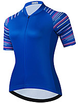 cheap -21Grams Women's Short Sleeve Cycling Jersey Summer Spandex Blue Stripes Bike Top Mountain Bike MTB Road Bike Cycling Quick Dry Moisture Wicking Sports Clothing Apparel / Stretchy / Athleisure