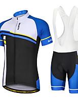cheap -Men's Short Sleeve Cycling Padded Shorts Cycling Jersey with Bib Shorts Cycling Jersey with Shorts Summer Spandex Polyester Bule / Black Blue Blue+White Geometic Funny Bike Bib Shorts Padded Shorts