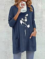 cheap -Women's A Line Dress Short Mini Dress Blue Long Sleeve Print Pocket Print Fall Round Neck Casual 2021 S M L XL XXL / Cotton