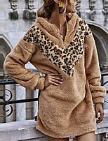cheap -Women's Shift Dress Short Mini Dress Camel Long Sleeve Leopard Patchwork Fall Winter Hooded Casual 2021 S M L XL