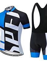 cheap -CAWANFLY Men's Short Sleeve Cycling Jersey with Bib Shorts Summer Bule / Black Bike Sports Geometic Mountain Bike MTB Road Bike Cycling Clothing Apparel / Micro-elastic / Athleisure / Triathlon