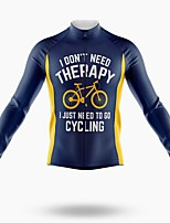 cheap -21Grams Men's Long Sleeve Cycling Jersey Spandex Polyester Blue+Yellow Funny Bike Top Mountain Bike MTB Road Bike Cycling Quick Dry Moisture Wicking Breathable Sports Clothing Apparel / Stretchy