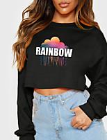 cheap -Women's Sweatshirt Crop Top Rainbow Graphic Prints Crop Top Print Casual Sports Hot Stamping Cotton Active Streetwear Hoodies Sweatshirts  Yellow Gray White