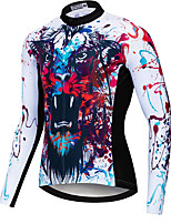 cheap -21Grams Men's Long Sleeve Cycling Jersey Spandex Polyester Red / White Tiger Funny Bike Top Mountain Bike MTB Road Bike Cycling Quick Dry Moisture Wicking Breathable Sports Clothing Apparel