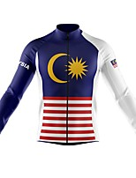cheap -21Grams Men's Long Sleeve Cycling Jersey Spandex Polyester Dark Blue Stripes Funny Bike Top Mountain Bike MTB Road Bike Cycling Quick Dry Moisture Wicking Breathable Sports Clothing Apparel