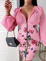 cheap -Women's Sheath Dress Short Mini Dress Blushing Pink Long Sleeve Floral Print Fall V Neck Casual 2021 S M L XL XXL 3XL
