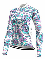 cheap -21Grams Women's Long Sleeve Cycling Jersey Spandex Polyester Blue Floral Botanical Funny Bike Top Mountain Bike MTB Road Bike Cycling Quick Dry Moisture Wicking Breathable Sports Clothing Apparel