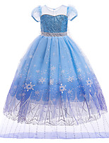 cheap -Kids Little Girls' Dress Graphic Solid Colored Sequin A Line Dress Birthday Casual Mesh Print Blue Knee-length Short Sleeve Cute Dresses Children's Day Slim
