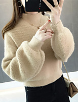 cheap -Women's Pullover Sweater Modern Style Solid Color Active Casual Cotton Long Sleeve Sweater Cardigans High Neck Fall Winter Purple Orange White / Holiday