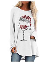 cheap -Women's Shift Dress Short Mini Dress Blue Blushing Pink Gray White Black Brown Long Sleeve Print Print Fall Winter Round Neck Casual Christmas 2021 S M L XL XXL 3XL 4XL 5XL
