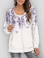 cheap -Women's Hoodie Zip Up Hoodie Sweatshirt Floral Butterfly Graphic Prints Zipper Print Daily Sports 3D Print Active Streetwear Hoodies Sweatshirts  Purple