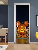 cheap -Halloween 2pcs Self-adhesive Pumpkin Door Stickers For Living Room Diy Decoration Home Waterproof Wall Stickers 77x200cm