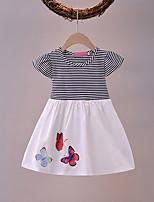 cheap -Kids Little Girls' Dress Butterfly Blushing Pink White Short Sleeve Fashion Cute Dresses Summer