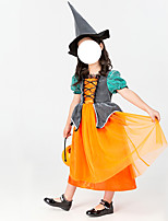 cheap -Witch Cosplay Costume Kid's Girls' Halloween Halloween Halloween Festival / Holiday Terylene Orange Easy Carnival Costumes Solid Color / Dress / Hat