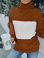 cheap -Women's Sweater Stripe Striped Stylish Long Sleeve Loose Sweater Cardigans Turtleneck Fall Winter Light gray Coffee Light Blue