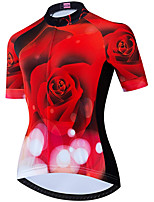 cheap -21Grams Women's Short Sleeve Cycling Jersey Summer Spandex Polyester Black / Red Funny Rose Bike Top Mountain Bike MTB Road Bike Cycling Quick Dry Moisture Wicking Breathable Sports Clothing Apparel