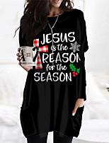 cheap -Women's Shift Dress Short Mini Dress White Black Long Sleeve Plaid Letter Pocket Print Fall Winter Round Neck Casual Christmas 2021 S M L XL XXL 3XL