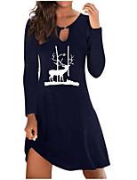 cheap -Women's A Line Dress Short Mini Dress Green Black Navy Blue Long Sleeve Animal Print Fall Winter Round Neck Casual Christmas 2021 S M L XL XXL 3XL 4XL 5XL