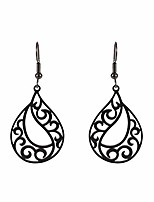 cheap -stainless steel minimalist deco geometric dangle earrings fire wave totem pattern hallow out design women and girls fahion jewelry (black, style 3)