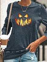 cheap -Women's Halloween T shirt Graphic Pumpkin Flame Print Round Neck Halloween Tops Blue Yellow Green