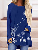 cheap -Women's Floral Theme Painting T shirt Graphic Dandelion Long Sleeve Print Round Neck Basic Tops Blue Yellow Green