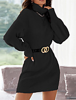 cheap -Women's Sweater Jumper Dress Short Mini Dress Red Wine Grey Black Long Sleeve Solid Color Chunky Fall Spring High Neck Casual Sexy 2021 S M L