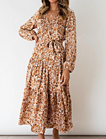 cheap -Women's Swing Dress Maxi long Dress Khaki Green Long Sleeve Print Print Fall V Neck Casual 2021 S M L XL