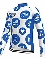 cheap -21Grams Men's Long Sleeve Cycling Jersey Spandex Polyester Blue Funny Bike Top Mountain Bike MTB Road Bike Cycling Quick Dry Moisture Wicking Breathable Sports Clothing Apparel / Athleisure
