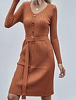 cheap -Women's Sweater Jumper Dress Knee Length Dress Khaki Long Sleeve Solid Color Button Fall V Neck Casual 2021 S M L