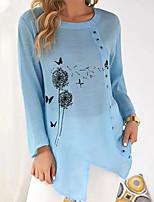 cheap -Women's T Shirt Dress Tee Dress Short Mini Dress Fuchsia Green Light Blue Long Sleeve Floral Butterfly Button Print Fall Summer Round Neck Casual 2021 S M L XL XXL